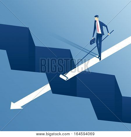 savvy businessman draws the roller path of the gap employee finds a way to bridge the gap business concept overcome the difficulties