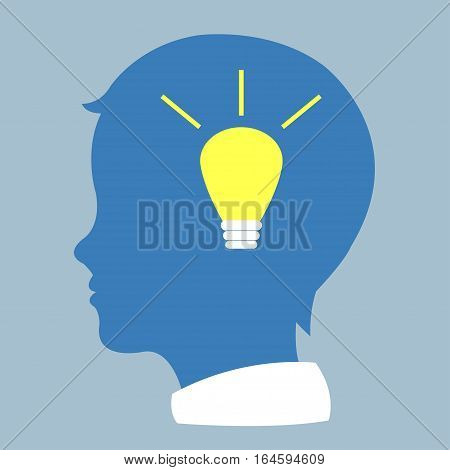 Human profile with bulb Idea symbol  vector