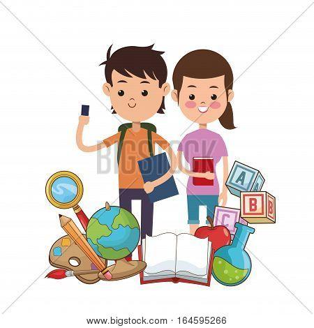 boy and girl puplis book globe bag palette pencil vector illustration eps 10