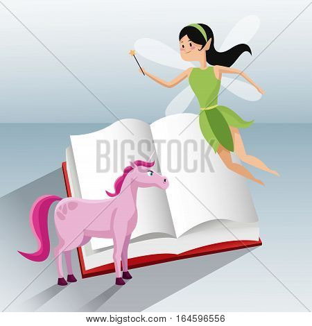 fairy flying and unicorn tale book vector illustration eps 10