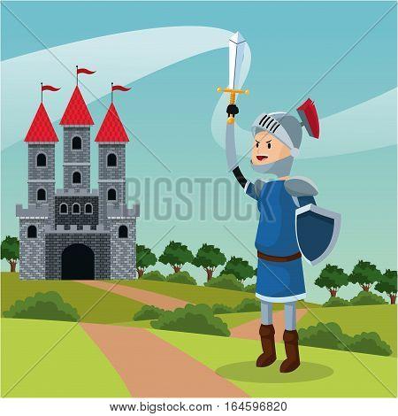 knight armor shield sword castle landscape vector illustration eps 10