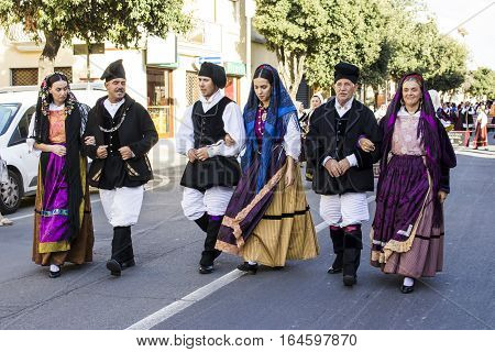 QUARTU S.E., ITALY - September 17, 2016: Parade of Sardinian costumes and floats for the grape festival in honor of the celebration of St. Helena. - Sardinia