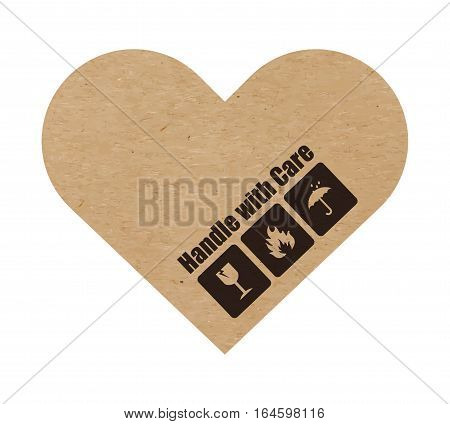 Vector illustration of handle with care symbols on craft paper or cardboard heart, valentine card, isolated on white
