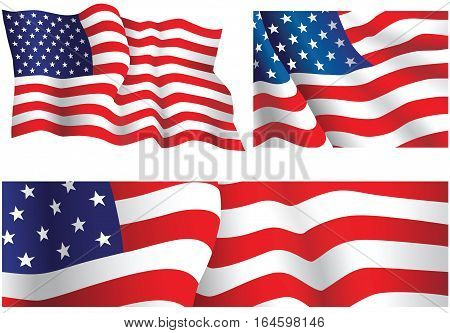 USA flags. Three illustrations of the United States flag.