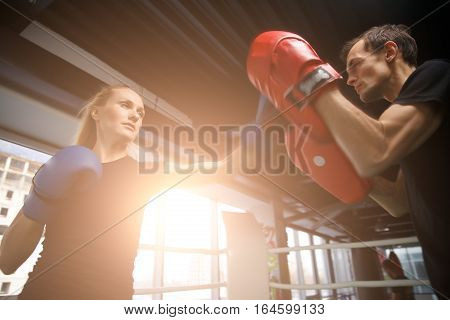 Young sportsmens compete in boxing in gym in sportswear