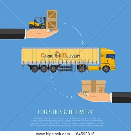 Logistics and Delivery Concept with Trucking and Hand Flat icons. isolated vector illustration