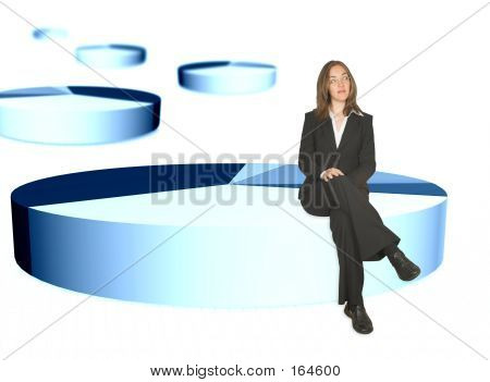 Business Woman Sitting On Pie Chart