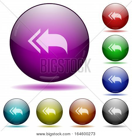 Reply to all recipients icons in color glass sphere buttons with shadows