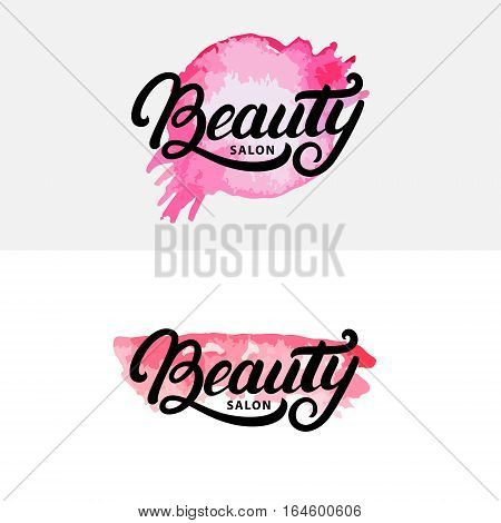 Set of hand written lettering Beauty salon logo, label, badge or emblem. Watercolor. Isolated on background. Vector illustration.