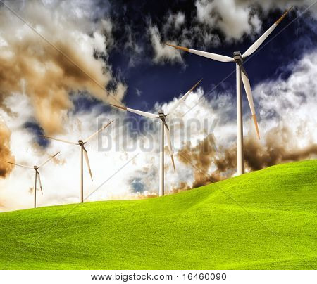 Green grassland and wind turbines on storm cloud