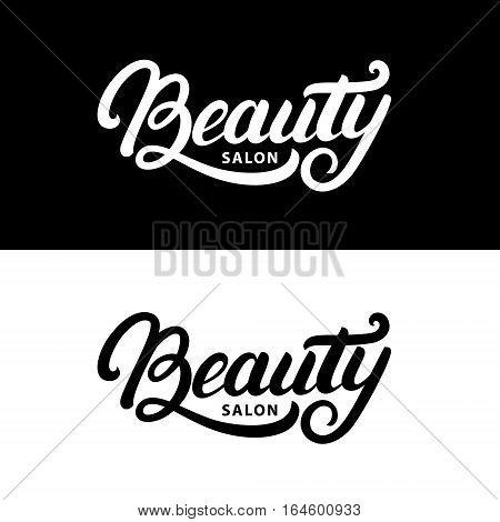 Hand written lettering Beauty salon logo, label, badge or emblem. Isolated on background. Vector illustration.