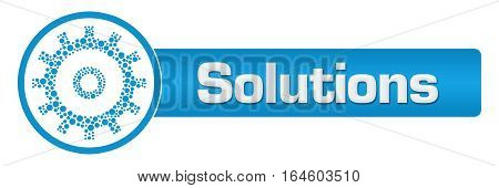 Solutions text written over blue background with gear symbol.