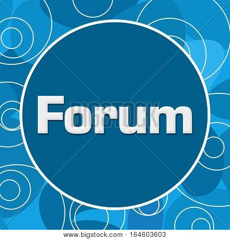 Forum text written over abstract blue background.
