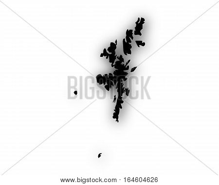 Map Of The Shetland Islands With Shadow