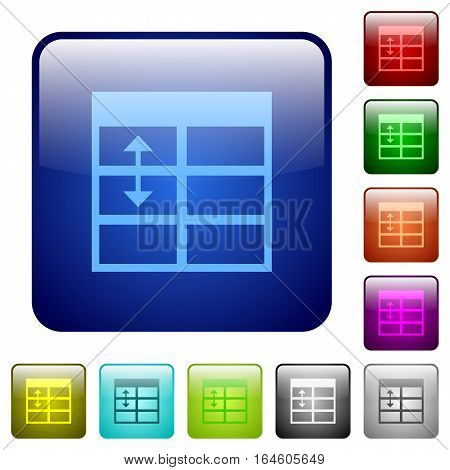 Spreadsheet adjust table row height icons in rounded square color glossy button set