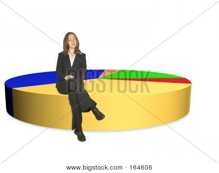 Business Woman On Pie Chart - Isolated