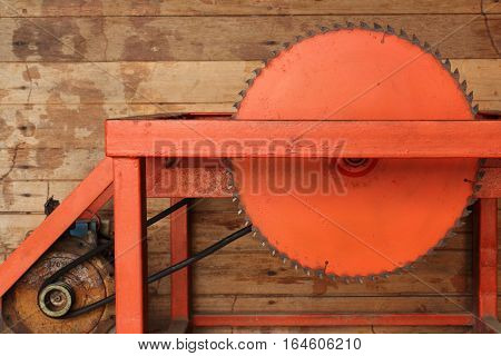 Close-up of circular saw in the factory