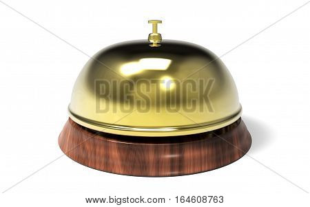 Hotel bell isolated on white background 3D rendering