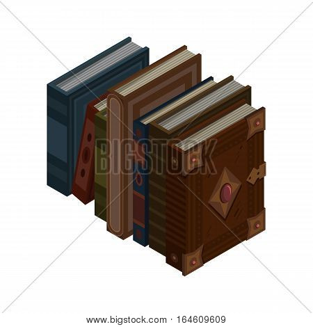 Stack of old 3d colorful books and tutorials. Isometric flat classbooks and textbooks icon. Education symbol logo. Illustration vector art.