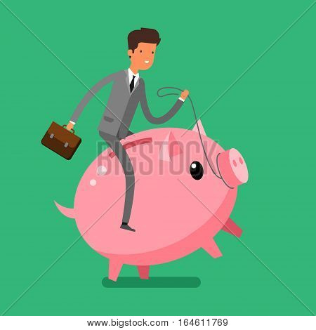 Concept of saving money. Businessman riding a piggy bank. Flat design, vector illustration