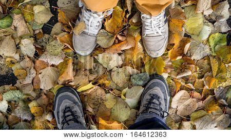 Stockholm, Sweden - October 28, 2016: Two people's feet on autumn leaves