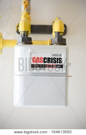 Fire gas bill concept with gas-meter equipment
