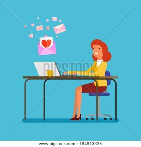 Concept of communication. Woman receiving love messages on laptop. Flat design, vector illustration.
