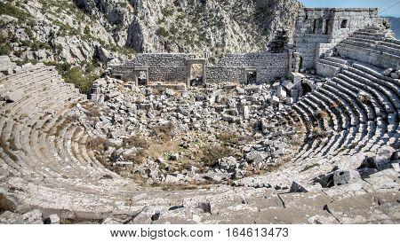 Antalya, Turkey - October 24, 203: Top view of amphitheater of Termessos Antique City in Antalya.