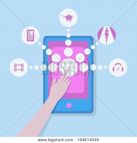 Tablet with entertainment icons. Woman using touch screen. The image is made in a nice flat style