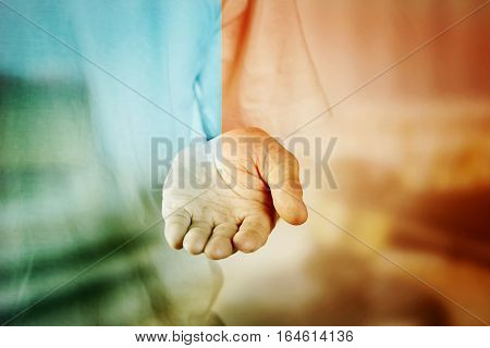 Man Hand Holding For Virtual Background With Vintage Two Tone Blue, Orange.