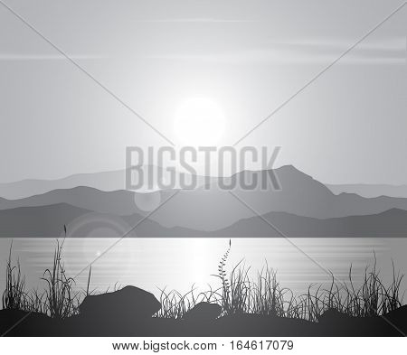 Landscape with sunset at the seashore over mountain range. Black and white vector illustration.