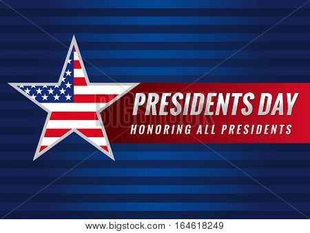 Happy Presidents vector background template with star in national flag colors. Presidents day USA star banner
