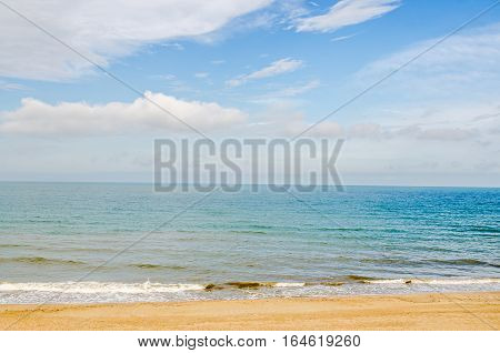 The Black Sea Shore, Seaside From Albena, Bulgaria,  Beach With Gold Sands, Blue Sea Water, Waves An