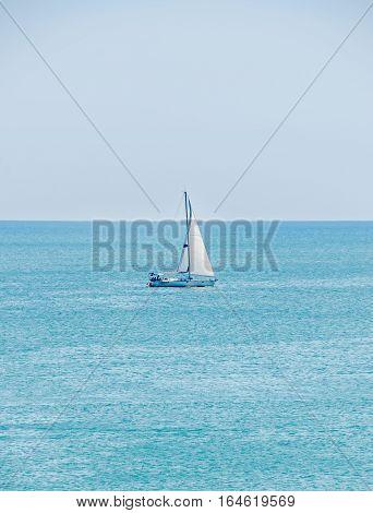 Albena, Bulgaria - June 15, 2016. Recreation Yacht, Ship Sailing On Black Sea, Blue Water, Sunny Day
