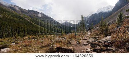 Mountain Landscape In The Rocky Mountain Region Of Lake Louise