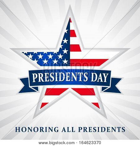 Lettering Presidents Day and Honoring all presidents vector banner, USA flag on background in star. Presidents day USA star ribbon