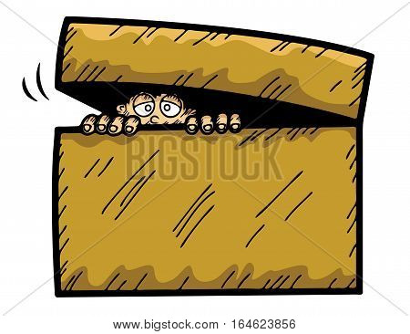 Cartoon illustration of scared kid hiding in the box