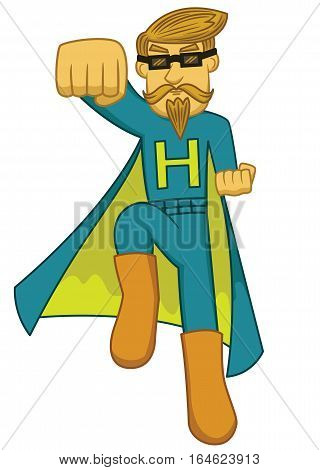 Illustration of a super hipster with superhero costume. Vector character.