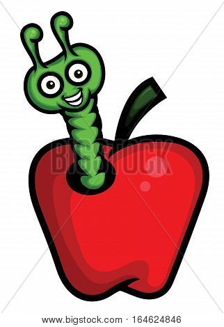 Cartoon illustration of a worm in an apple
