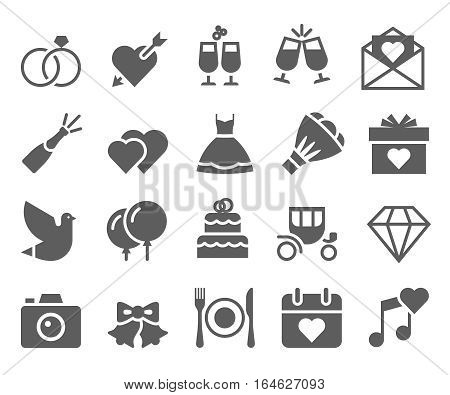 Wedding marriage black and white icons set.