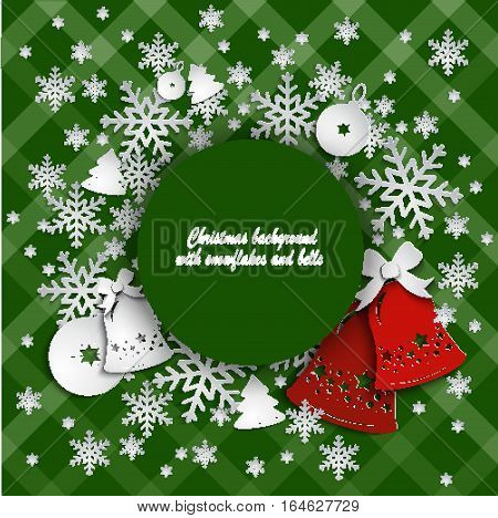 Abstract grunge background with Christmas bells and ribbon