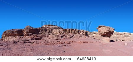 Timna park - Panoramic view of the Mushroom, surrounded by copper ore smelting sites from between the 14th and 12th centuries BCE