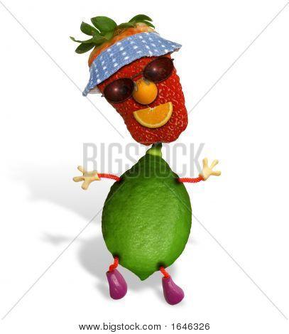 Fresas y hombre de cal