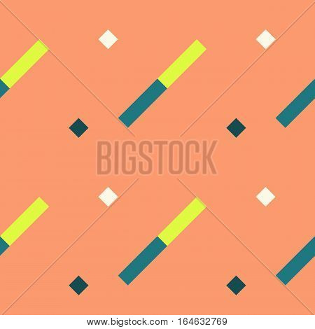 Seamless geometric stripy pattern. Texture of diagonal strips. Blue, green, white rectangles and squares on orange soft background. Baby, children colored. Vector