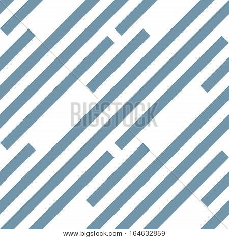 Seamless geometric pattern. Stripy texture. Diagonal gray-blue strips on white background. Labyrinth theme. Vector