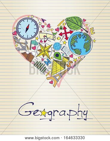 Vector illstration of geography in shape of heart