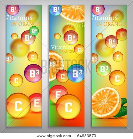 Orange vitamins banners with a fresh fruit and colourful pills on a colourful background. Beautiful vector illustration. Oranges are rich source of vitamin. Medical and pharmaceutical image.