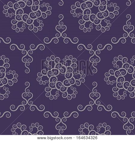 Seamless lace pattern. Vintage, spiral, floral texture. Swirl ornament of laurel leaves. Light figure on dark background. Purple colored. Vector