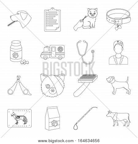 Veterinary clinic set icons in outline design. Big collection of veterinary clinic vector symbol stock illustration