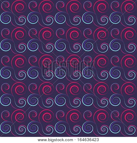 Seamless floral spiral pattern. Swirl, twirl lines. Twist, whirl, torsional ornament on dark background. Blue, white red colored. Vector